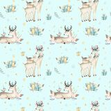 Seamless Christmas baby deer seamless pattern. Hand drawn winter backgraund with deer, snowflakes. Nursery xmas animal Royalty Free Stock Photo