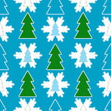 Seamless Christmas Background. Fur-tree and snowflake (vector stock illustration