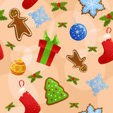 Seamless Christmas background. Seamless background with all sorts of Christmas symbols Royalty Free Stock Images