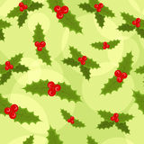 Seamless Christmas background. Seamless Christmas green background with hollies Royalty Free Stock Photos