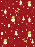 Seamless Christmas background. Seamless background with stars, trees, deers and snowmen Stock Photography