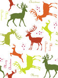 Seamless Christmas background. Seamless background with deers and stars Stock Photos