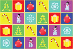 Seamless christmas background. Made of squares with holiday figures Stock Image