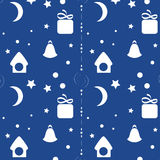 Seamless Christmas background. Seamless Christmas night background, house, moon, stars and snow on blue background royalty free illustration