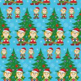 Seamless Christmas background, babies and tree Stock Photo