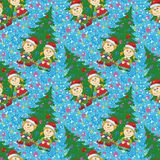 Seamless Christmas background, babies and tree Stock Photography