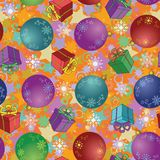 Seamless Christmas background, balls and boxes. Seamless Christmas holiday background: balls, gift boxes, snowflakes and stars vector illustration