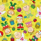 Seamless Christmas background, boys and girls Stock Images