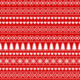Seamless Christmas background, card - Scandinavian sweater style. Simple Christmas pattern - Xmas trees, hearts, snowflakes on red background. Design for vector illustration