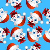Seamless christmas background with cats Royalty Free Stock Images