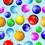 Seamless Christmas background with colorful balls Stock Photos