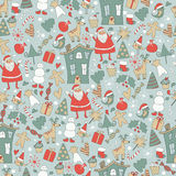 Seamless christmas background. Cute santa claus, deer, snowman, red holy berry, trees, snowballs, snowflakes, gift boxes, christmas sock and other christmas Stock Photography
