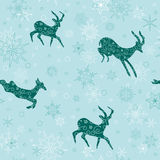Seamless vector christmas background with emerald goats Stock Image