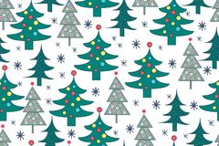 Seamless Christmas background. Hand drawn pattern with christmas Royalty Free Stock Photos