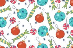 Seamless Christmas background. Hand drawn pattern with Christmas. Decorations, candies, lollipops, snowflakes Royalty Free Stock Photo
