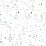 Seamless Christmas background. Hand drawn pattern with deers, fi Royalty Free Stock Photo