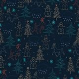 Seamless Christmas background. Hand drawn pattern with deers, fi Royalty Free Stock Image