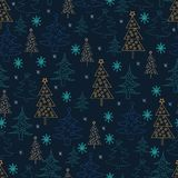 Seamless Christmas background. Hand drawn pattern with  fir tree Stock Photo