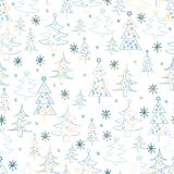 Seamless Christmas background. Hand drawn pattern with  fir tree Royalty Free Stock Photography
