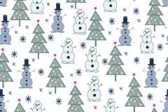 Seamless Christmas background. Hand drawn pattern with fir trees Royalty Free Stock Image