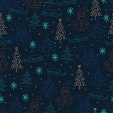 Seamless Christmas background. Hand drawn pattern with Santa Cla Stock Photography
