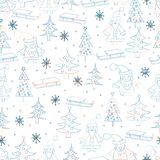 Seamless Christmas background. Hand drawn pattern with Santa Cla Royalty Free Stock Images