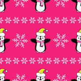 Seamless Christmas  background with ornamental snowflakes and penguins Stock Photos