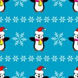Seamless Christmas  background with ornamental snowflakes and penguins. Seamless Christmas background with ornamental snowflakes and penguins Royalty Free Stock Photos