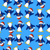 Seamless Christmas background with penguins Royalty Free Stock Image