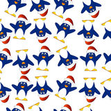 Seamless Christmas background with penguins Royalty Free Stock Photography