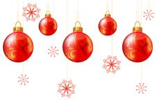 Seamless christmas background with red balls Stock Image