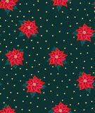 Seamless Christmas background with red poinsettias and gold beads. Royalty Free Stock Images