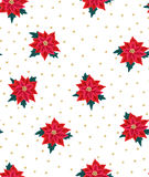 Seamless Christmas background with red poinsettias and gold beads. Royalty Free Stock Photography