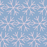 Seamless Christmas background with snowflakes. Blue Christmas background with pink snowflakes (trendy colors of the season 2016 Royalty Free Stock Image
