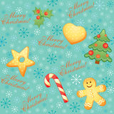 Seamless Christmas background. Vintage Christmas seamless background with Christmas symbols and snowflakes Royalty Free Stock Image