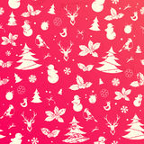 Seamless Christmas background. Vintage vector pattern Stock Photos