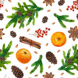 Seamless Christmas background. Watercolor Christmas pattern with fir branches, red berries, fir cones, orange, cinnamon, anise, watercolour hand painted seamless Stock Image