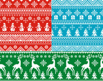 Seamless christmas backgrounds. Set of abstract vector seamless christmas backgrounds Royalty Free Stock Photo