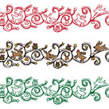 Seamless Christmas  border. With various icons Stock Images