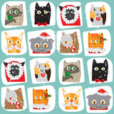 Seamless Christmas cats background. Cute animal tile pattern. New Year wrapping papper texture Royalty Free Stock Photography