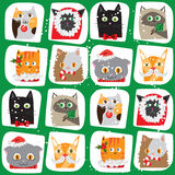 Seamless Christmas cats background.  Royalty Free Stock Image