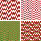 Seamless Christmas Chevron Patterns in Green and Red. Four Seamless Christmas Chevron Patterns in Green, Red and White. Vector file contains Pattern Swatches Stock Images