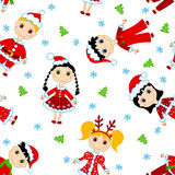 Seamless Christmas Children Pattern. Royalty Free Stock Photo