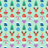 Seamless Christmas colorful background. Flat design. Vector Royalty Free Stock Photo