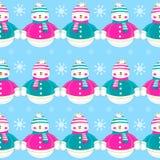 Seamless christmas cute funny snowmen. Snowman vector illustration Stock Photo