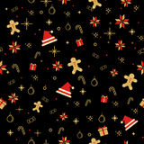 Seamless Christmas decorating items background. Stock Images