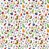 Seamless christmas doodle pattern stock illustration