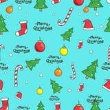 Seamless Christmas elements pattern. Illustration vector royalty free illustration