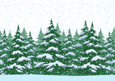 Seamless Christmas Forest Landscape Stock Images