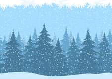Seamless Christmas Forest Landscape Stock Image